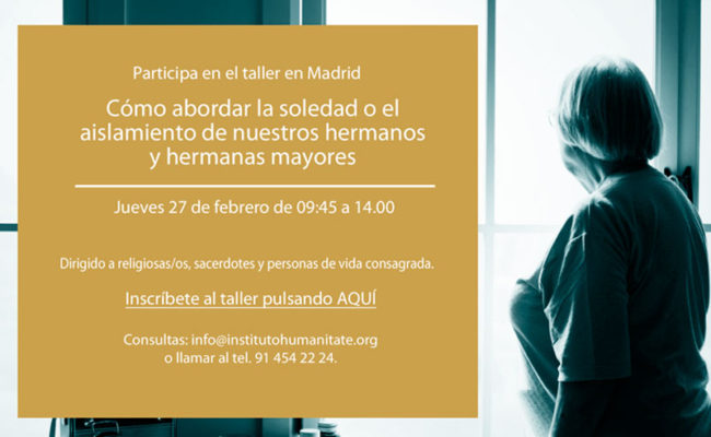 """Participa en el taller """"Abordar la soledad"""" el jueves 27 de febrero en Madrid"""